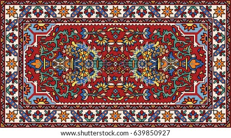 Colorful mosaic oriental rug with traditional folk geometric ornament and floral motifs. Carpet border frame pattern. Vector 10 EPS illustration.