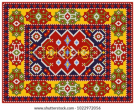Colorful mosaic oriental rug with traditional folk geometric ornament. Carpet with border frame pattern. Cross stitch template.