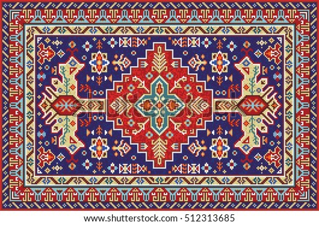 Colorful mosaic rug with traditional folk geometric pattern. Carpet border frame pattern. Vector 10 EPS illustration.
