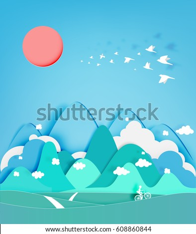 colorful mountain paper cut