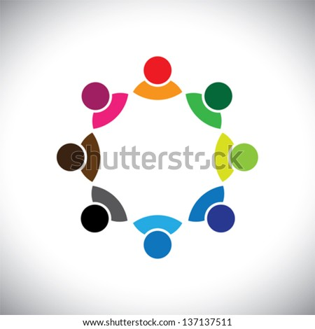 Colorful multi-ethnic corporate executive team or employee group. This vector graphic can also represent concept of children playing together or team meeting or group discussion, etc