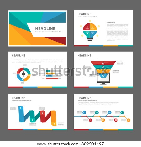 Colorful multipurpose presentation infographic element and light bulb symbol icon template flat design set for advertising marketing brochure flyer