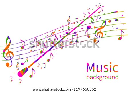 Colorful music background. Abstract conductor orchestra. Conductor's stick. Musical notes template. Vector illustration flat design. Maestro composer.