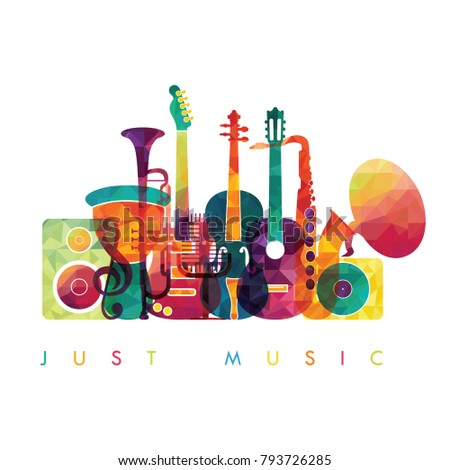 Colorful music background. Colorful music instruments. Vector illustration