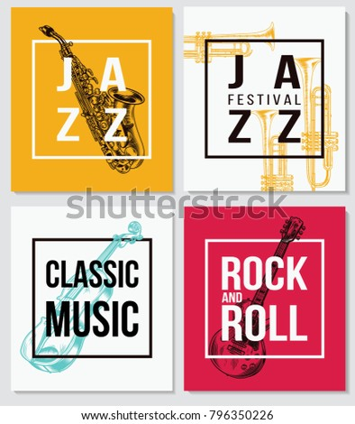 Colorful music background. Jazz music, Rock and Roll, Classic Music poster concepts. Vector illustration