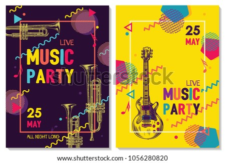 Colorful music background. Music festival. Music summer party. Vector illustration
