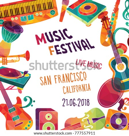 Colorful Music Background Music Festival Poster Design Vector