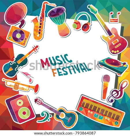 Colorful music background. Music instruments. Music festival poster. Vector illustration