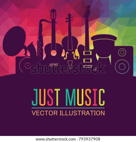 Colorful music background. Music instruments. Music festival.  Vector illustration