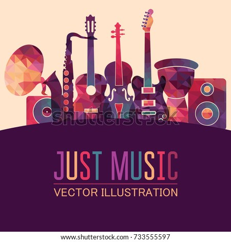 Colorful music background. Music instruments set poster. Vector illustration