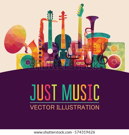 Colorful music background. Vector illustration
