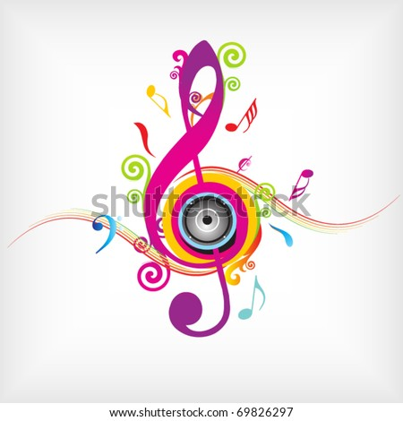 Colorful music background with fly clefs