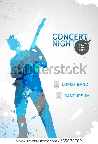 Colorful music background with guitarist in grunge style - vector