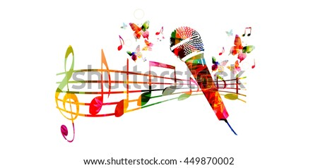 Colorful music background with microphone and music notes