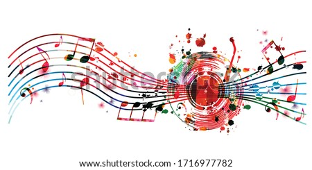Colorful music background with music notes and vinyl record disc isolated vector illustration design. Artistic music festival poster, events, party flyer, music notes signs and symbols