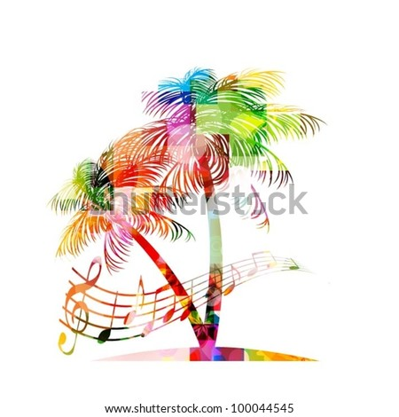 colorful music background with palm tree