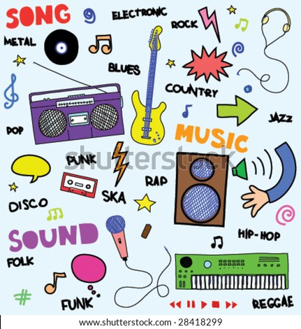 colorful music doodles