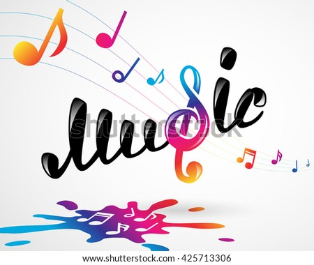 colorful music logo on white