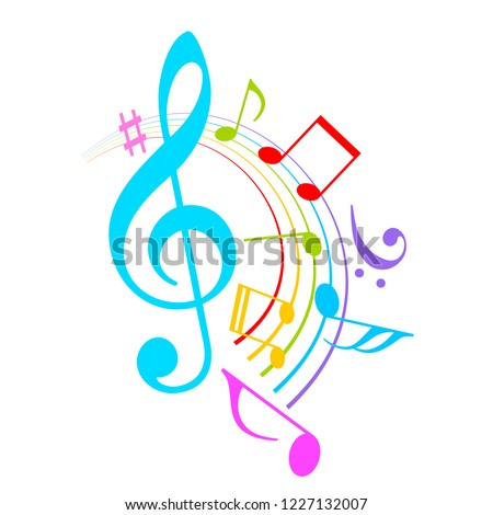 colorful music notes vector