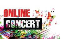 Colorful music promotional poster background with musical notes isolated vector illustration. Online concert banner for music festivals, shows and concert events