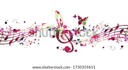Colorful music promotional poster with G-clef and music notes isolated vector illustration. Artistic abstract background with music staff for music show, live concert events, party flyer template