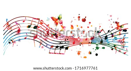 Colorful music promotional poster with music notes isolated vector illustration. Artistic abstract background with music staff for music show, live concert events, party flyer design template