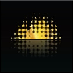 Colorful music volume with reflection. Little points. Abstract music background - modern design.