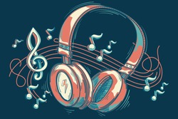 Colorful musical headphones and notes - music design