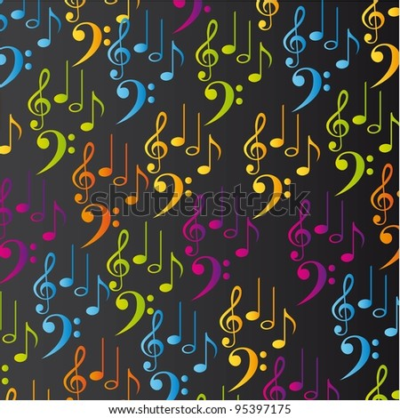 Colorful Musical Notes Black Background Colorful Musical Notes Over