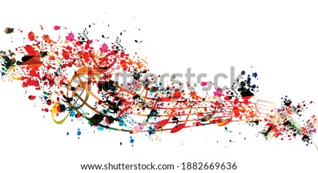 Colorful musical promotional poster with musical notes isolated vector illustration. Artistic background with musical staff for live concert events, music festivals and shows, party flyer template Photo stock ©