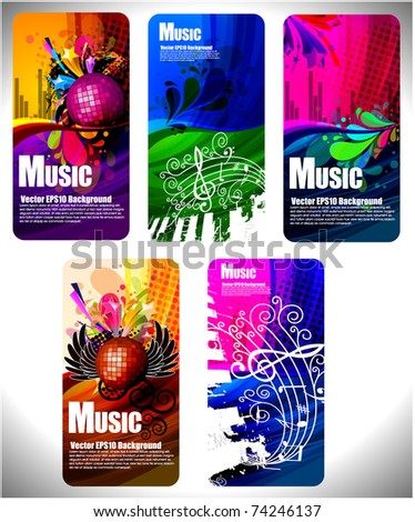 Colorful Musical theme vector disco background with circles and splash, Editable Illustration