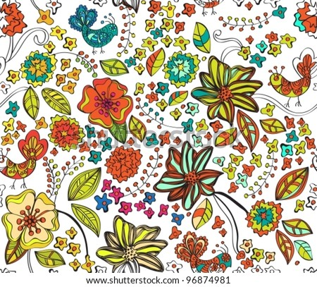 Colorful natural seamless background,vector illustration - stock vector