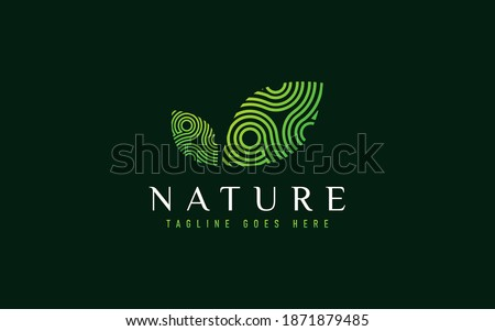 Colorful Nature Leaf Logo Design with Abstract Lines Shapes Inside. Usable For Business, Community, Industrial, Foundation, Services Company. Flat Vector Logo Design Illustration.