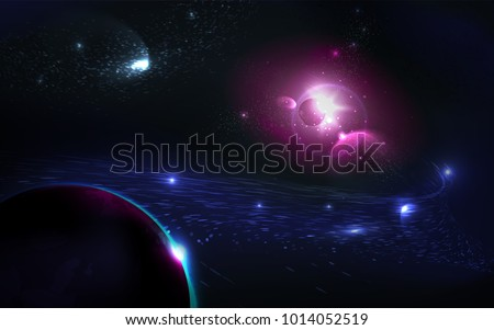 Colorful Nebula in Space Background. Glowing planet in starlight. Realistic cosmic vector illustration.