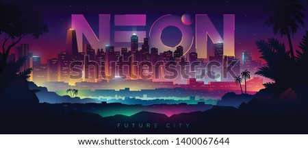 Colorful neon futuristic night city. Cyberpunk and retro wave style illustration.