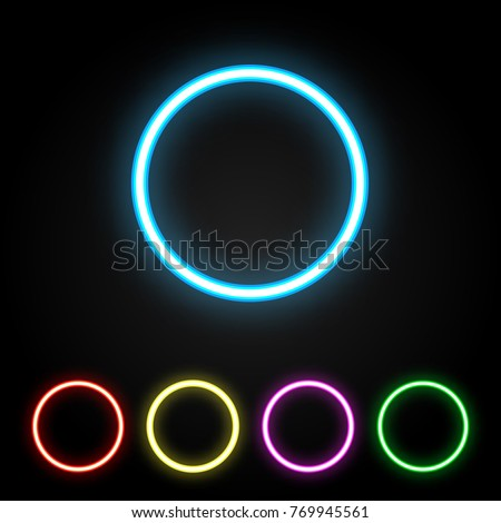 Colorful neon ring. Glowing colored circles set. Vector illustration.
