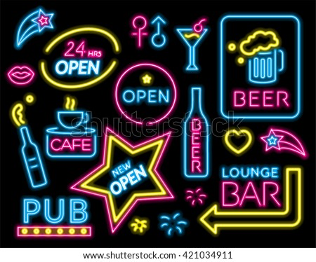 Colorful Neon sign set. vector illustration.