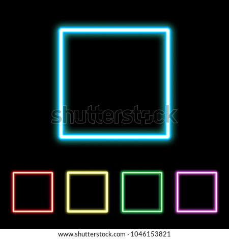 Colorful neon square sign. Glowing colored squares set. Vector illustration.