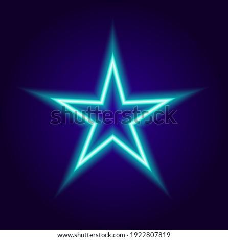 colorful neon star  blue color