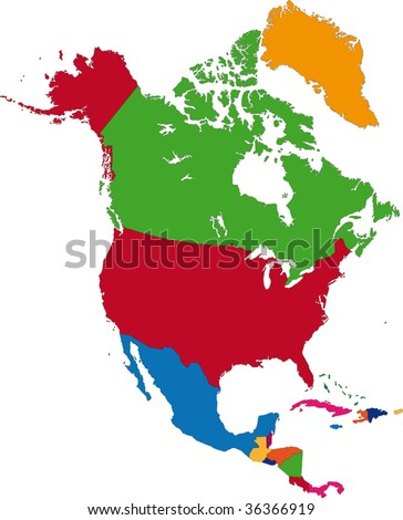 Colorful North America map with country borders - stock vector