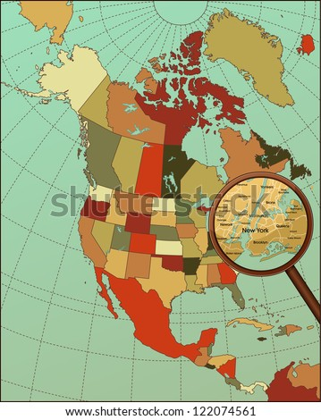 Colorful North America Map with Loop on New York. Cartography collection. Vector illustration.
