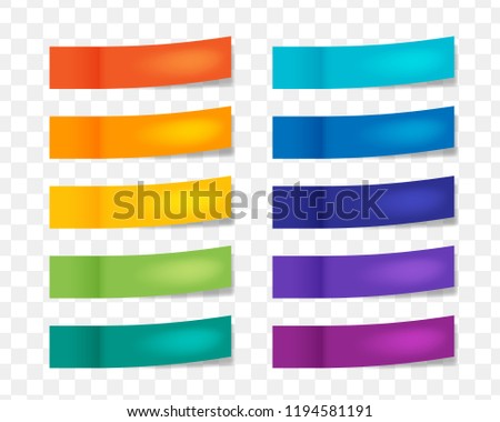 Colorful note stikers with flip edge isolated on transparent background. Paper sticky tape collection
