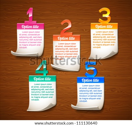 Colorful numbered glossy notes on wooden background - vector illustration  for your business presentations and advertising.