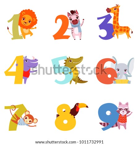 colorful numbers from 1 to 9