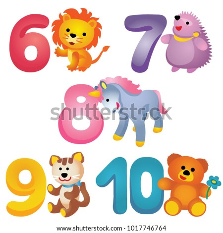 colorful numbers from 6 to 10
