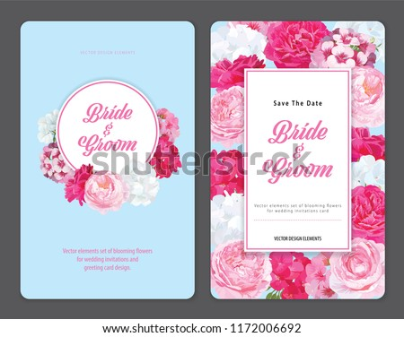 Colorful of geranium flowers and roses flower background template. Vector set of blooming floral for holiday invitations, greeting card and fashion design. #1172006692