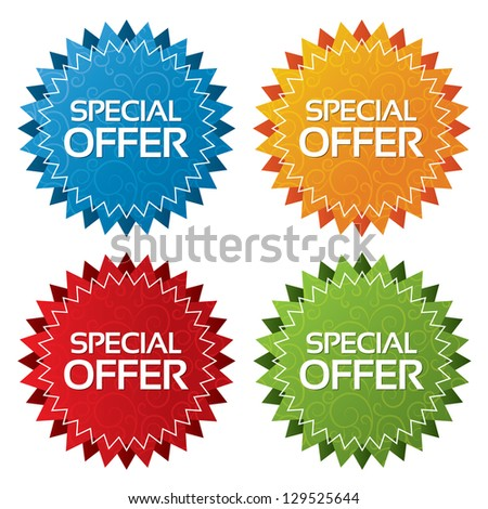Colorful offer tags with textures collection (vector). Icons set. Special offer labels illustration (blue, green, red, orange).