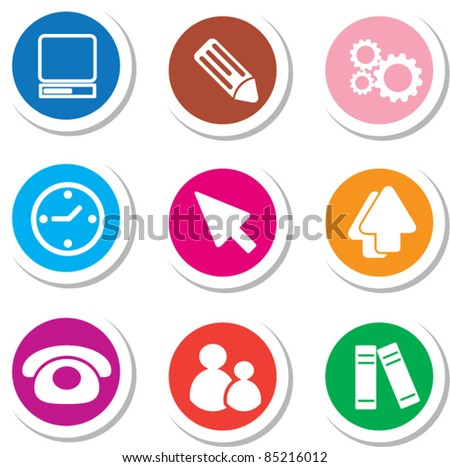 colorful office stickers, icons, signs, vector illustrations