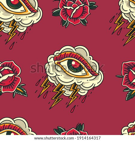 Colorful Old School Crying Eye cloud Tattoo with flower ornament seamless pattern ストックフォト ©