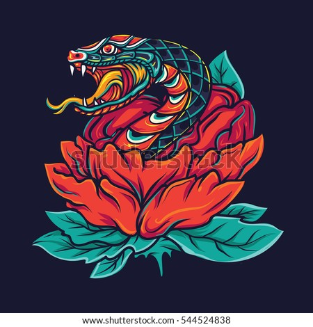Colorful Old School Snake with Flower Tattoo Illustration
